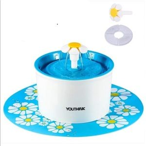 Cute Cat 1.6L Animal Drinking Fountain Blue Floral